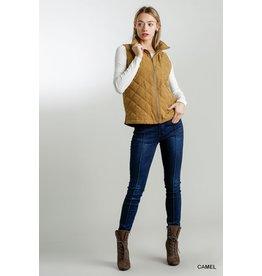 Sleeveless Quilt Zip Front Vest