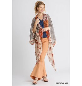 Mixed Floral Print Long Sleeve Open Front Kimono