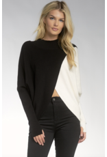 Mock Turtleneck Cross Color Sweater
