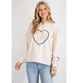 Heart Embroidered Front PulloverHoodie
