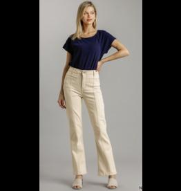 Panel Straight Cut Stretch Denim Jeans