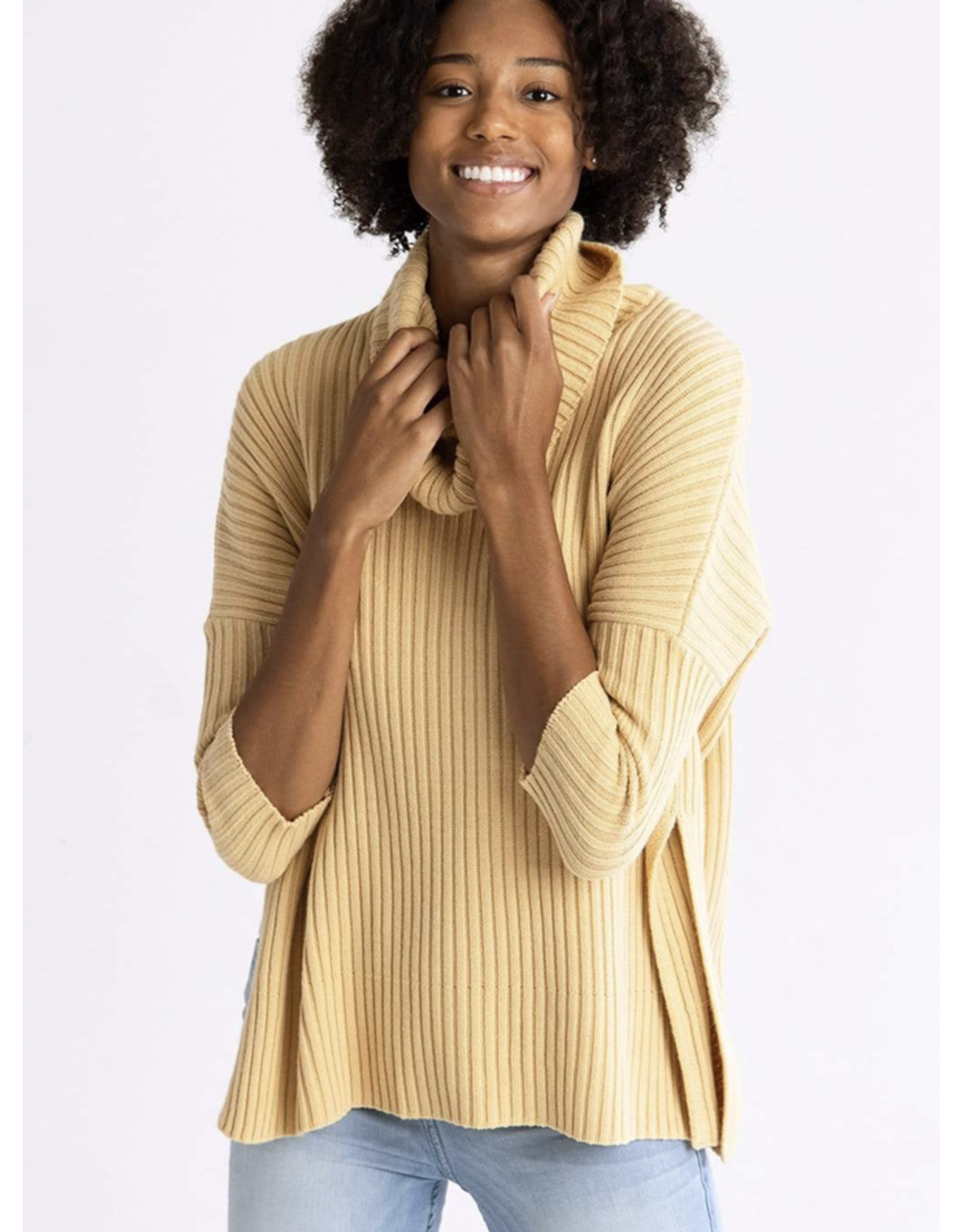 New Yorker Ribbed Cowl Sweater, Golden