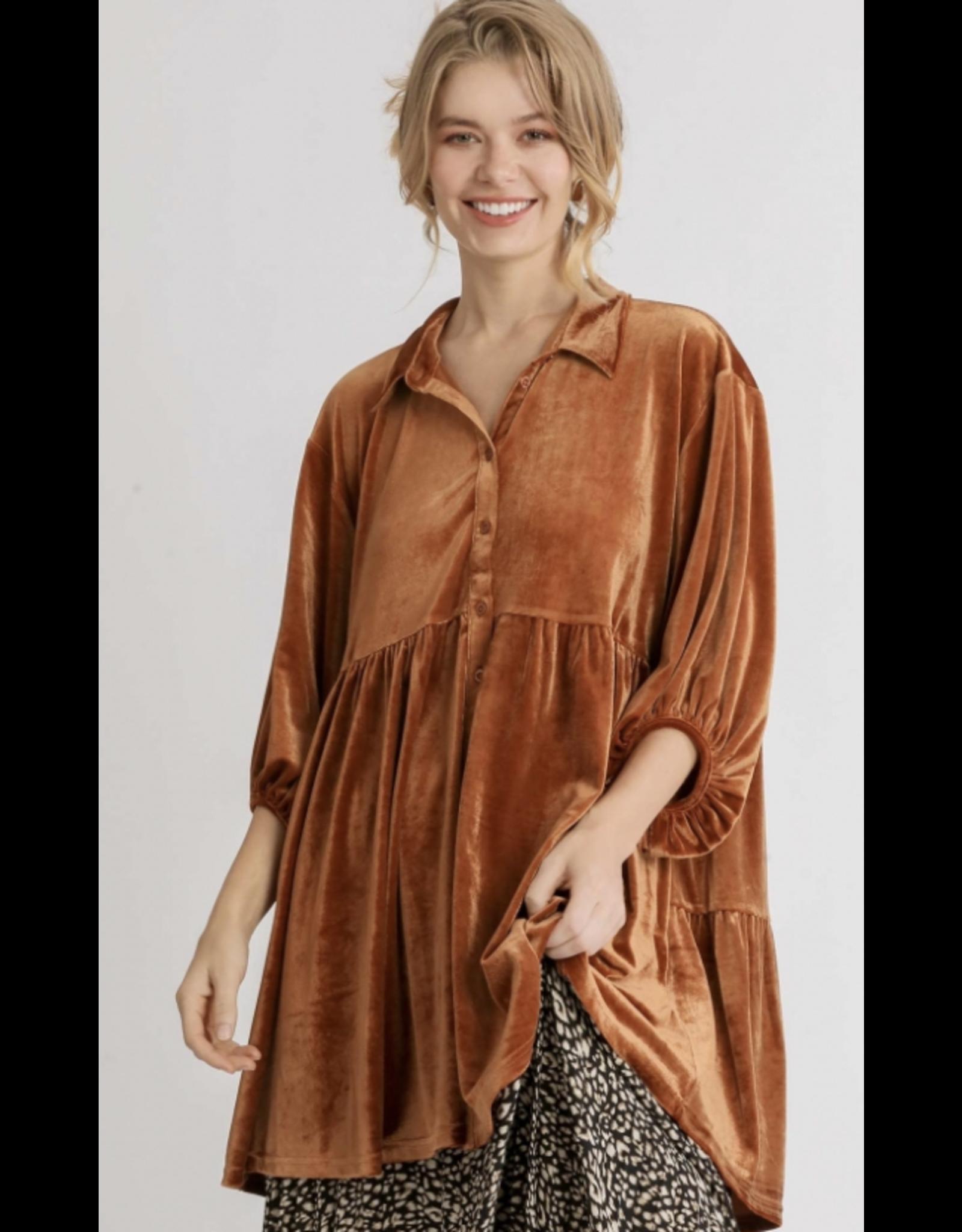 Velvet 3/4 Sleeve Tunic Dress