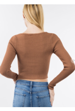 Square Neck Long Sleeve Button Top