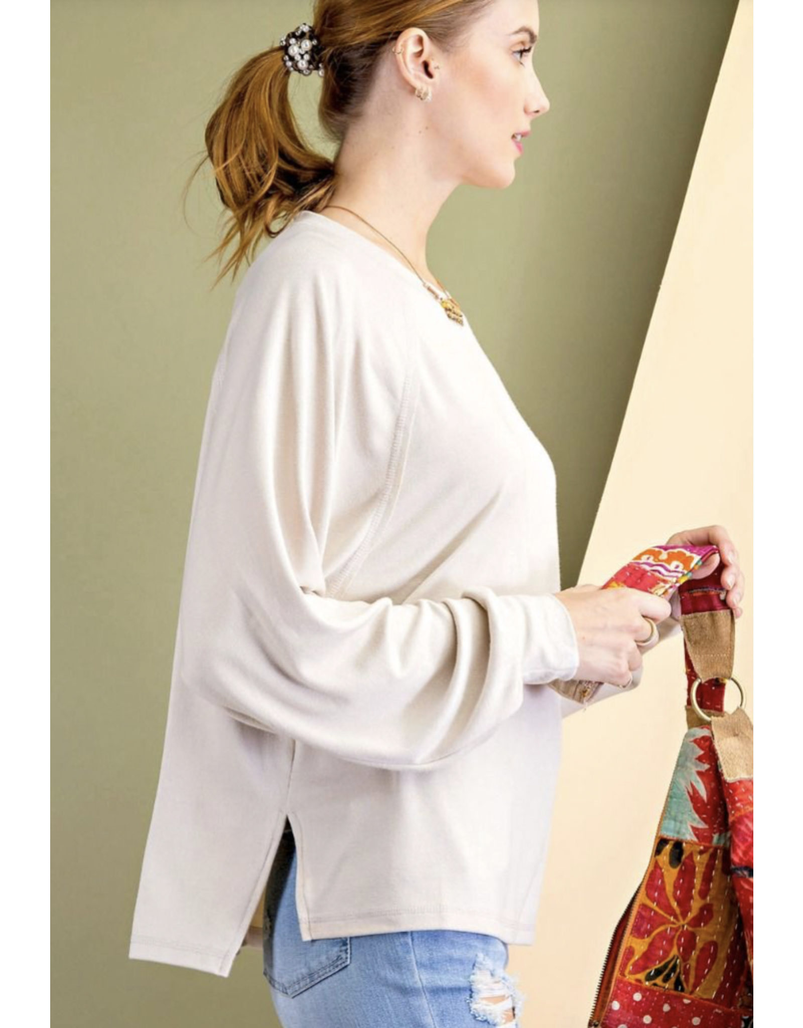 Dolman Sleeves Soft Hacci Knit Top