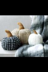 Shiraleah Large Faux Fur Gingham Pumpkin Pillow