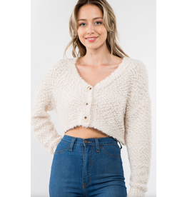 Fuzzy Crop Cardigan with Buttons