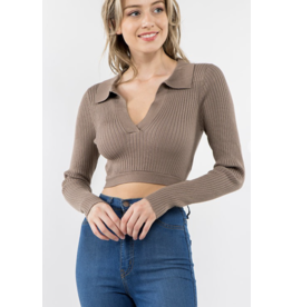 Collared Sweater with Back Tie