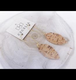 Cecelia Drop Leather Earrings in Gold Cork