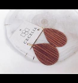 Cecelia Natural Brown Embossed Earrings