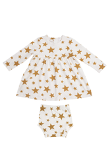 Honey Stars Dress and Diaper Cover, 3-6 month