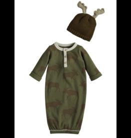 Mud Pie Moose Sleeper Gown Set, 0-3 months