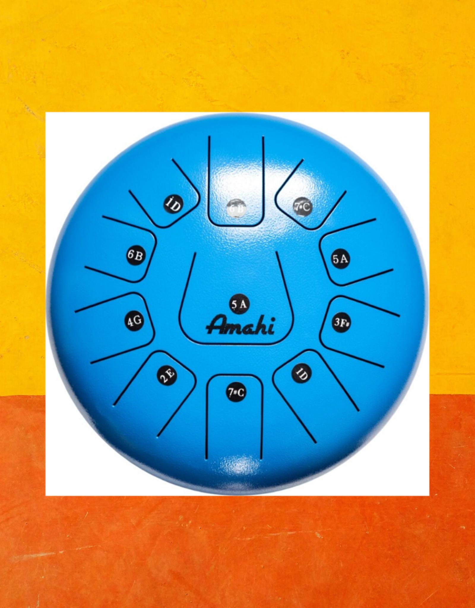 "AMAHI STEEL TONGUE DRUM 8"" BLUE"