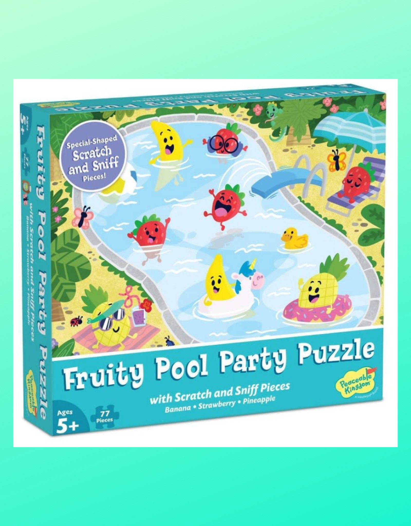 PEACEABLE KINGDOM FRUITY POOL PARTY PUZZLE WITH SCRATCH AND SNIFF