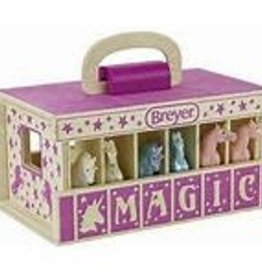 UNICORN WOODEN STABLE PLAYSET PURPLE