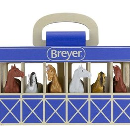 HORSE STABLE WOODEN CARRY CASE BLUE