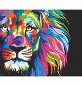 WISE ELK NEON LION PAINT BY NUMBER