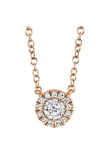 14K Rose Gold Diamond Halo Necklace, D: 0.14ct