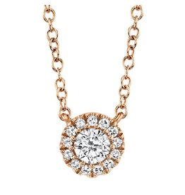 14K R/G Diamond Halo Necklace