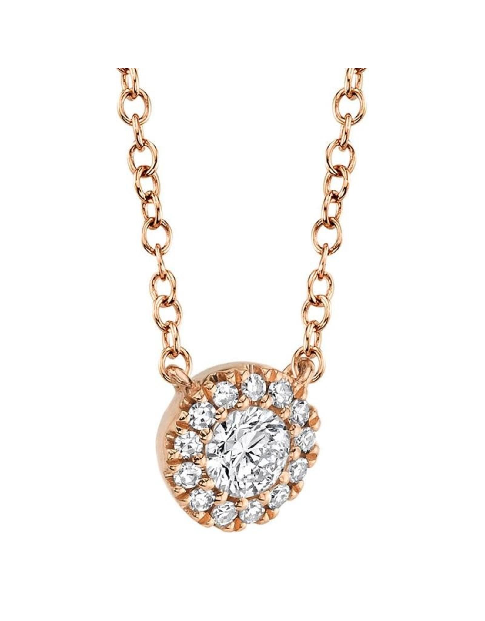 14K Rose Gold Diamond Halo Necklace, D: 0.14ct