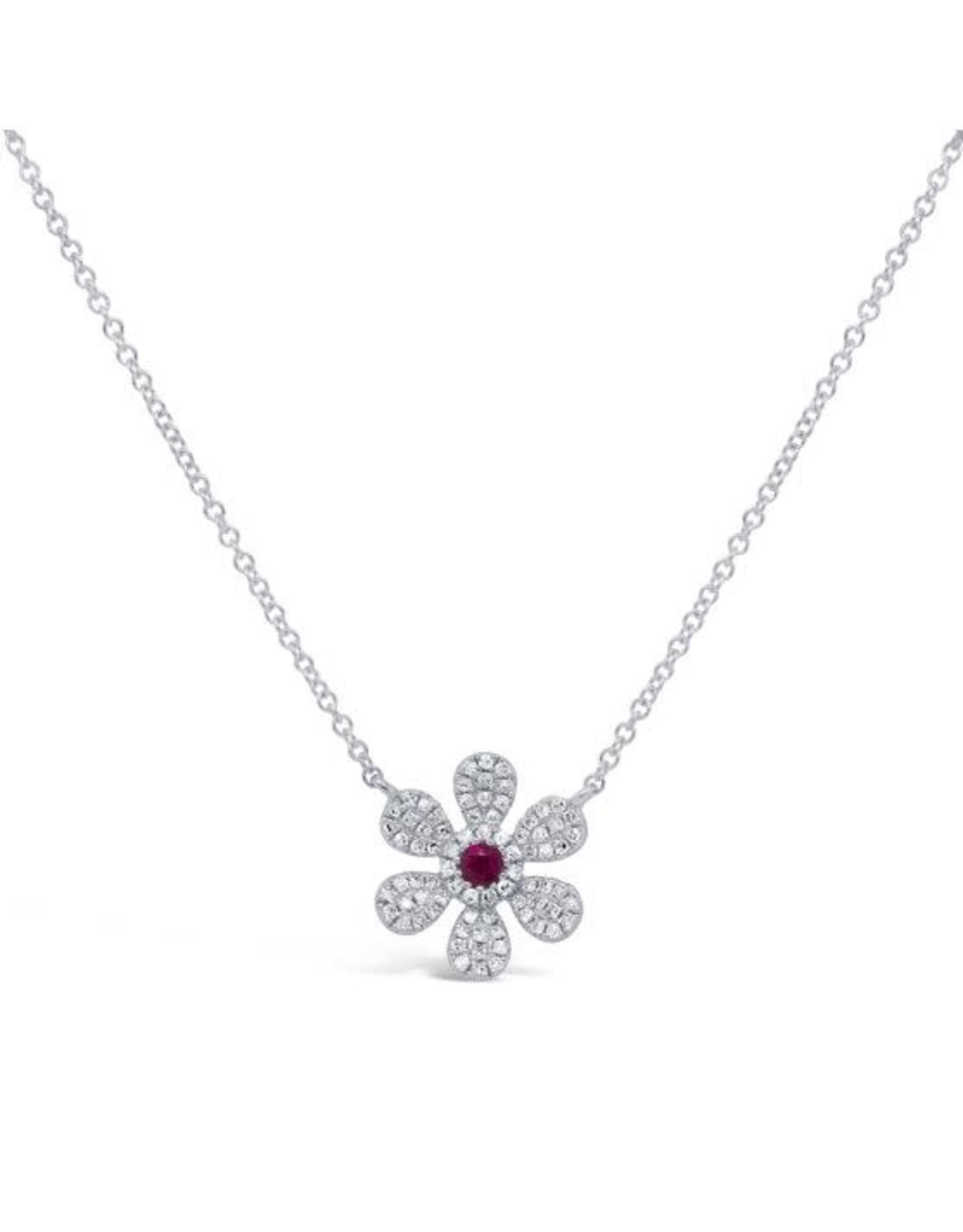 14K White Gold Ruby and Diamond Flower Necklace, R: 0.07ct, D: 0.17ct