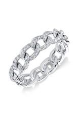 14K White Gold Diamond Chain Link Ring, D: 0.41ct