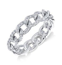 14K W/G Diamond Chain Link Ring, D: 0.41ct