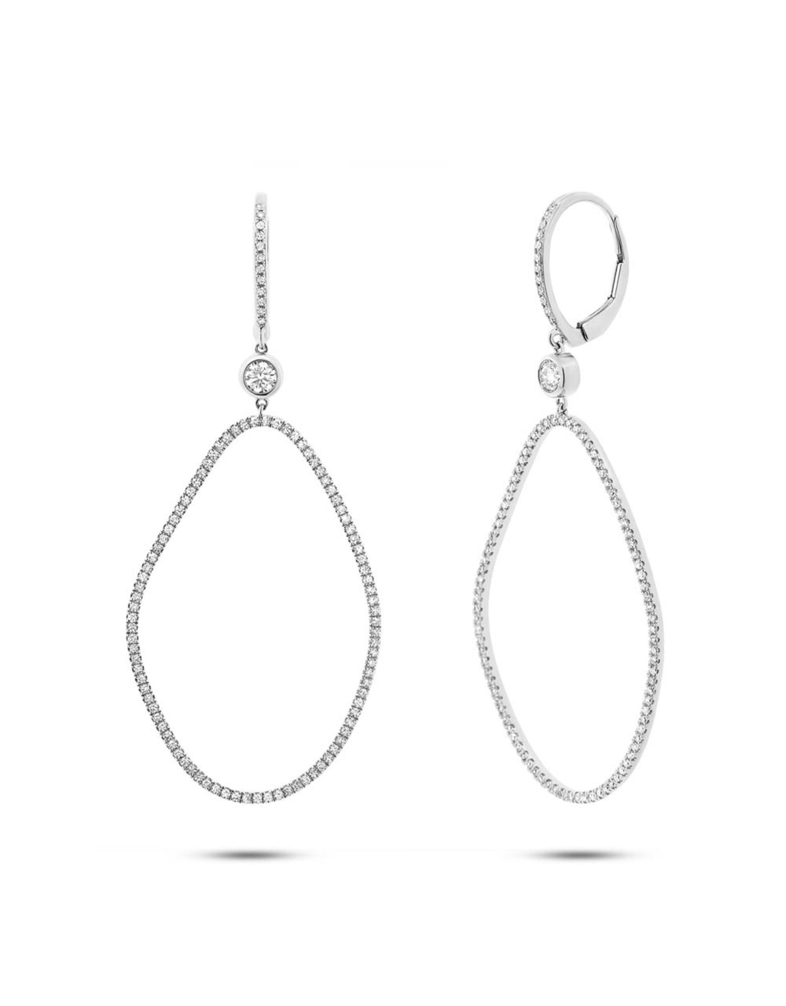 14K White Gold Diamond Fashion Dangle Earrings, D: 0.82ct