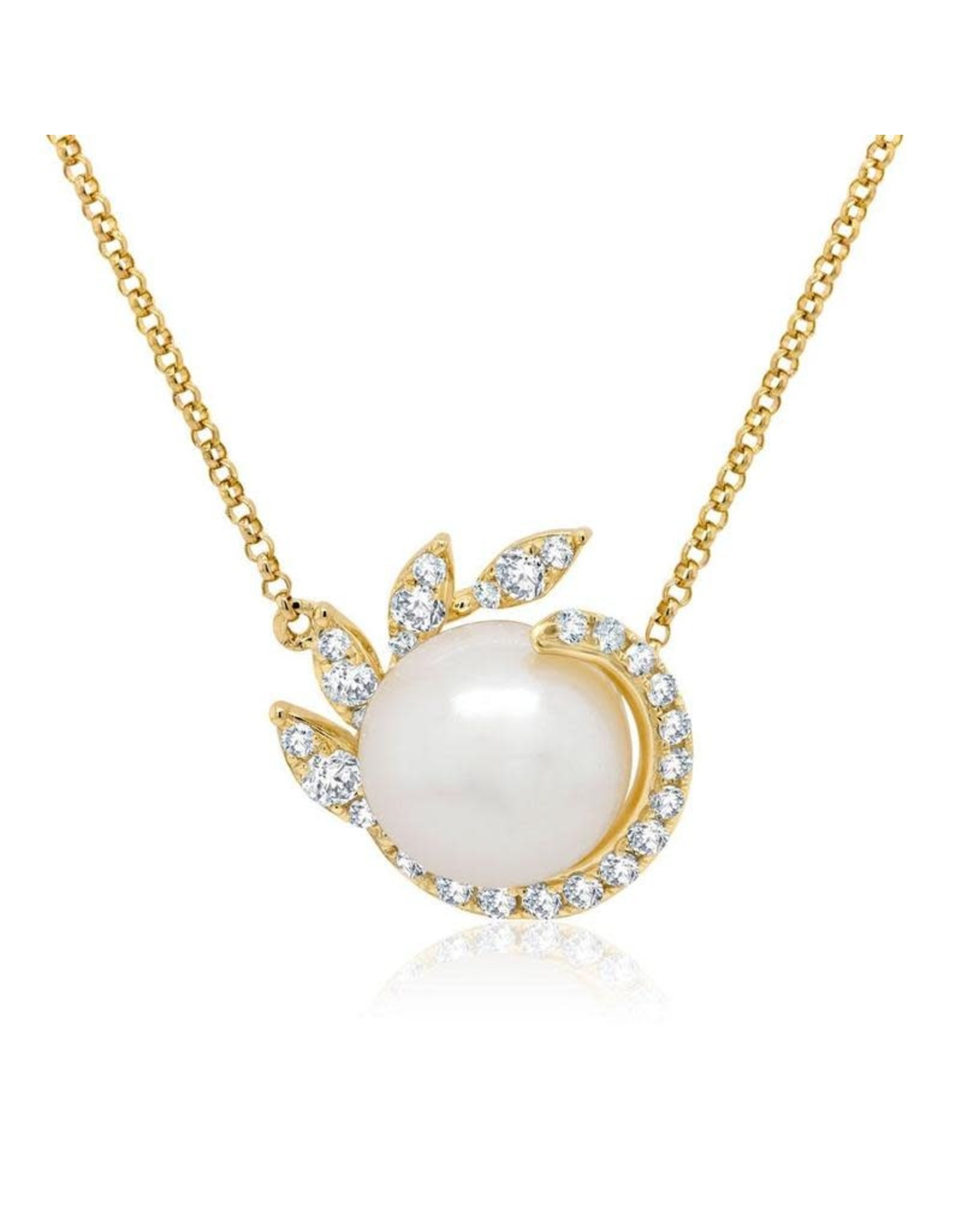 14K Yellow Gold Fresh Water Pearl and Diamond Necklace,  8.5mm, D: 0.25ct