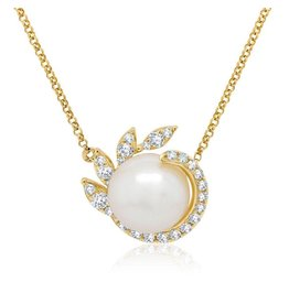 14K Y/G Fresh Water Pearl and Diamond Necklace,