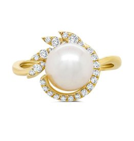 14K Y/G Fresh Water Pearl and Diamond Ring