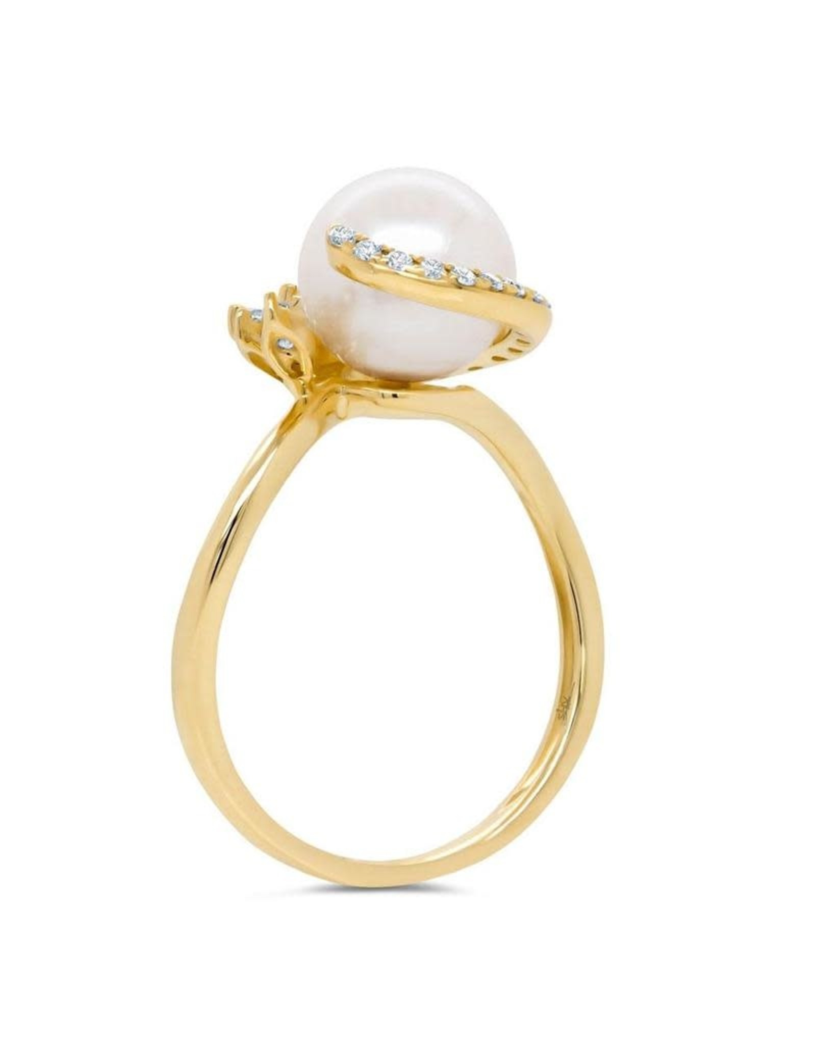 14K Yellow Gold Fresh Water Pearl and Diamond Ring, 8.5mm, D:  0.28ct
