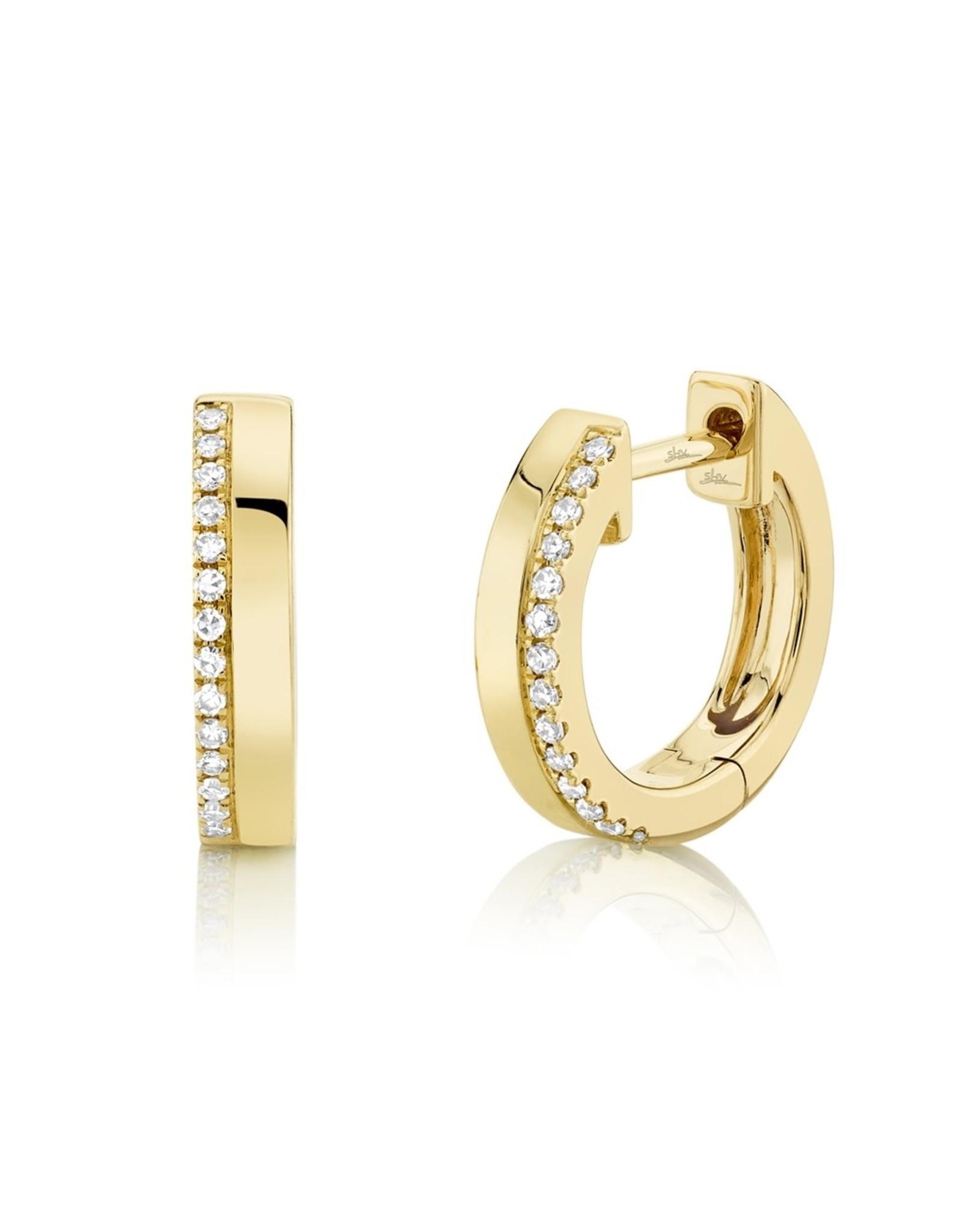 14K Yellow Gold Diamond Huggie Earrings, D: 0.08ct