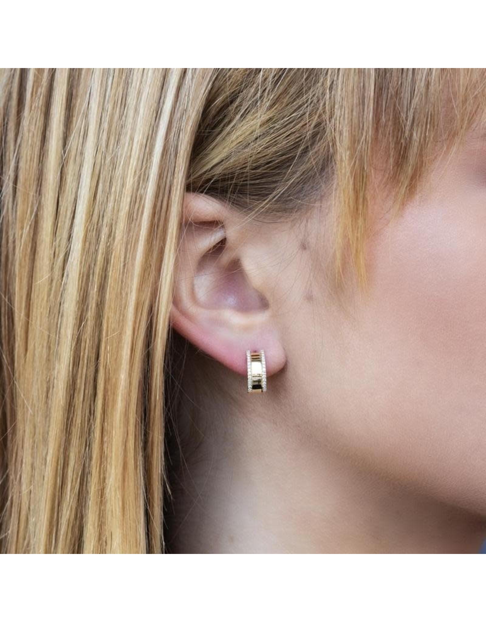 14K Yellow Gold Half Huggie Diamond Earrings, D: 0.17ct