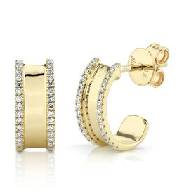 14K Y/G Half Huggie Diamond Earrings