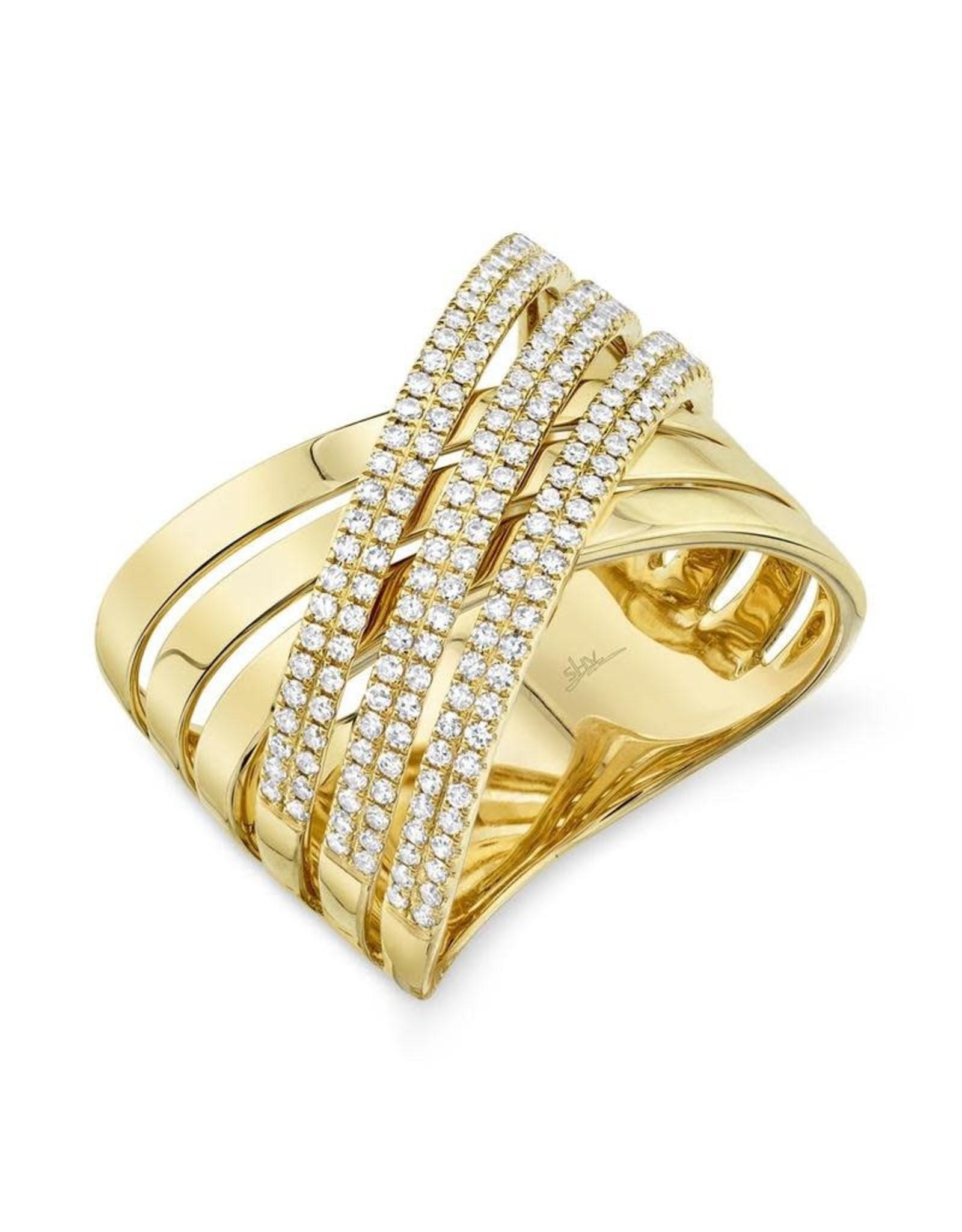 14K Yellow Gold  Criss Cross Diamond Ring, D: 0.54ct