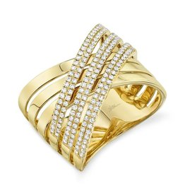 14K Y/G Criss Cross Diamond Ring