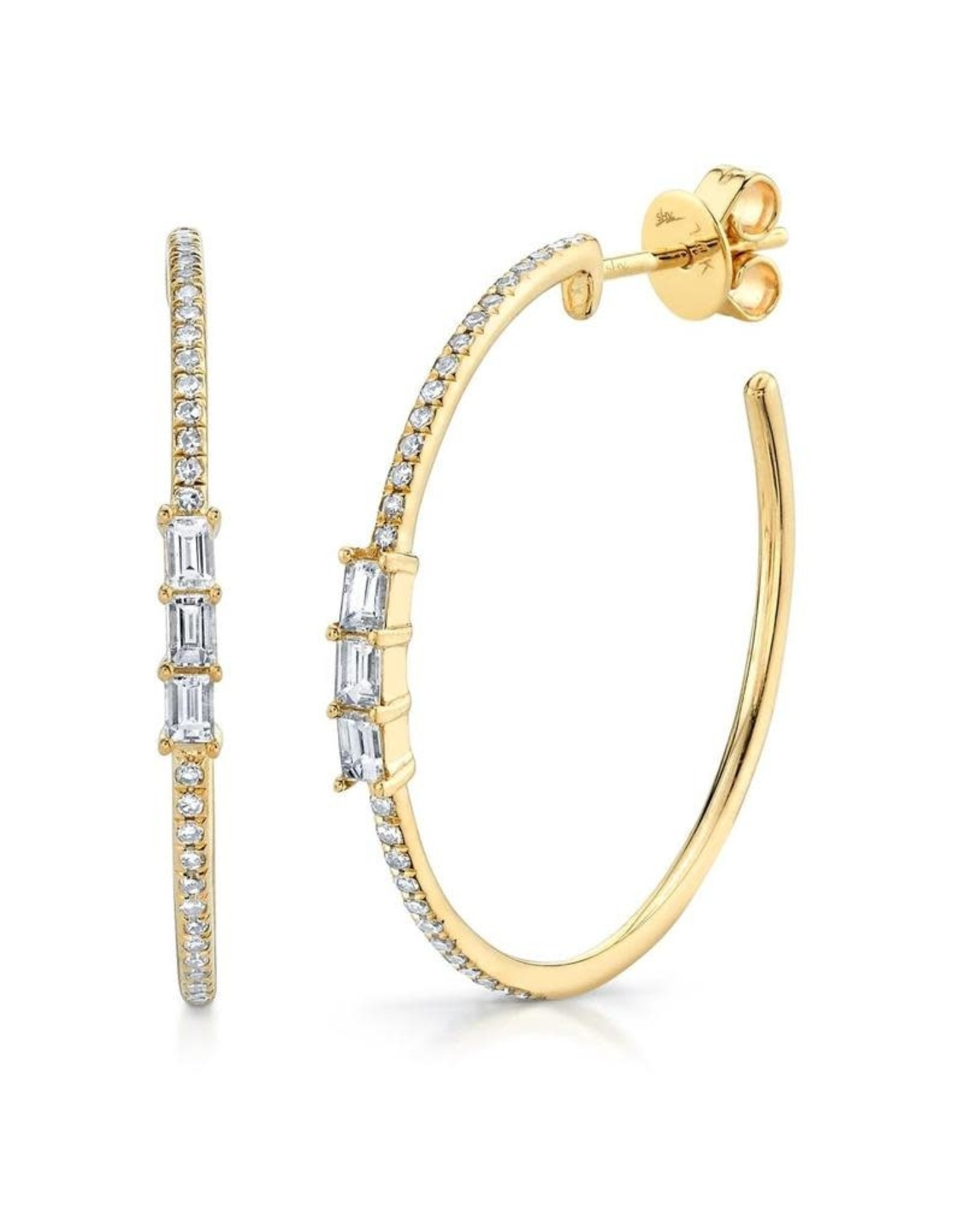 14K Yellow Gold Diamond Baguette Hoops Earrings, D: 0.39ct