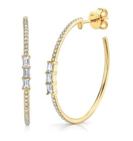 14K Y/G Baguette Diamond Hoops Earrings