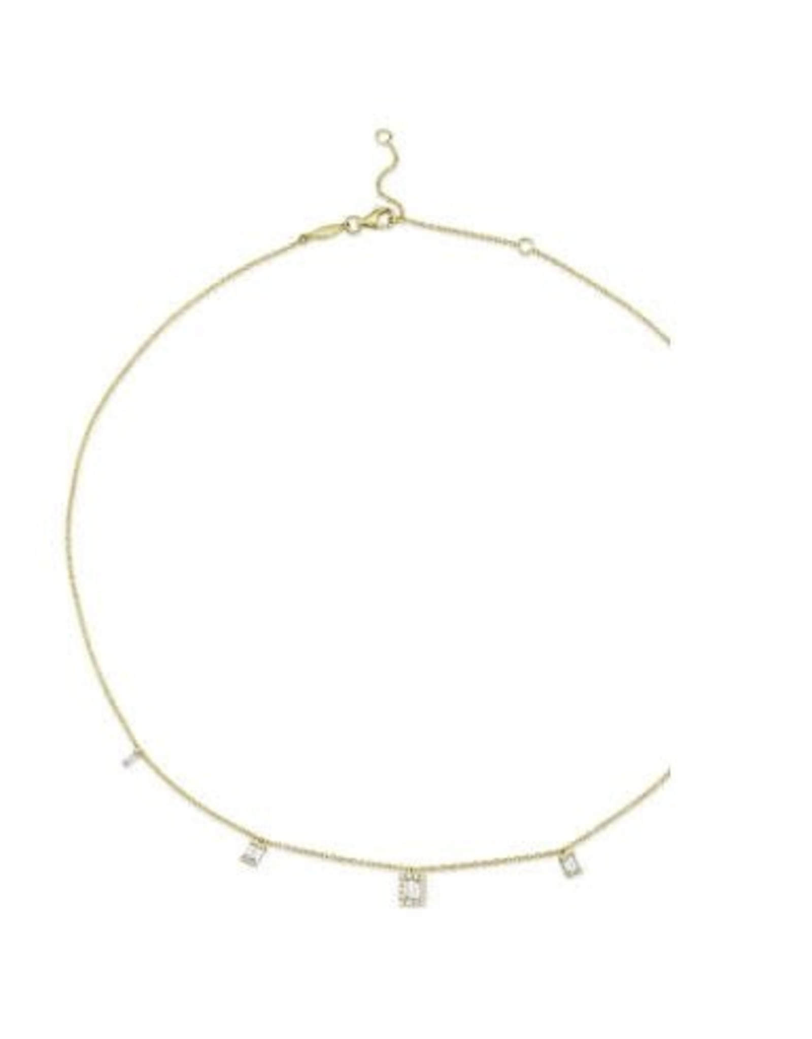 14K Yellow Gold Diamond Baguette Necklace,  D: 0.46ct