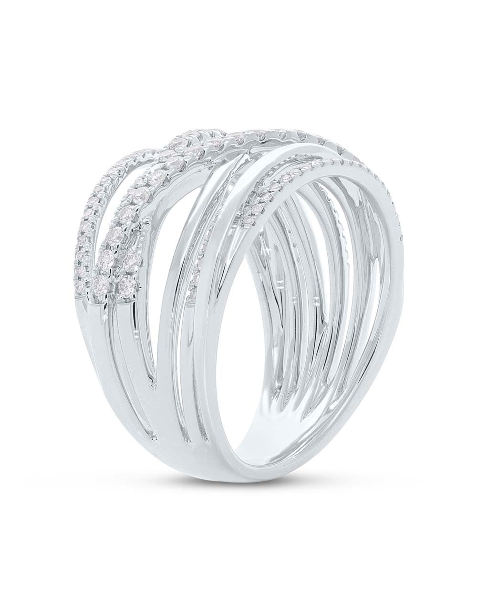 14K White Gold  Layered Diamond Fashion Ring,  D: 0.62ct