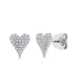 14K W/G Small Pave Diamond Heart Stud Earrings