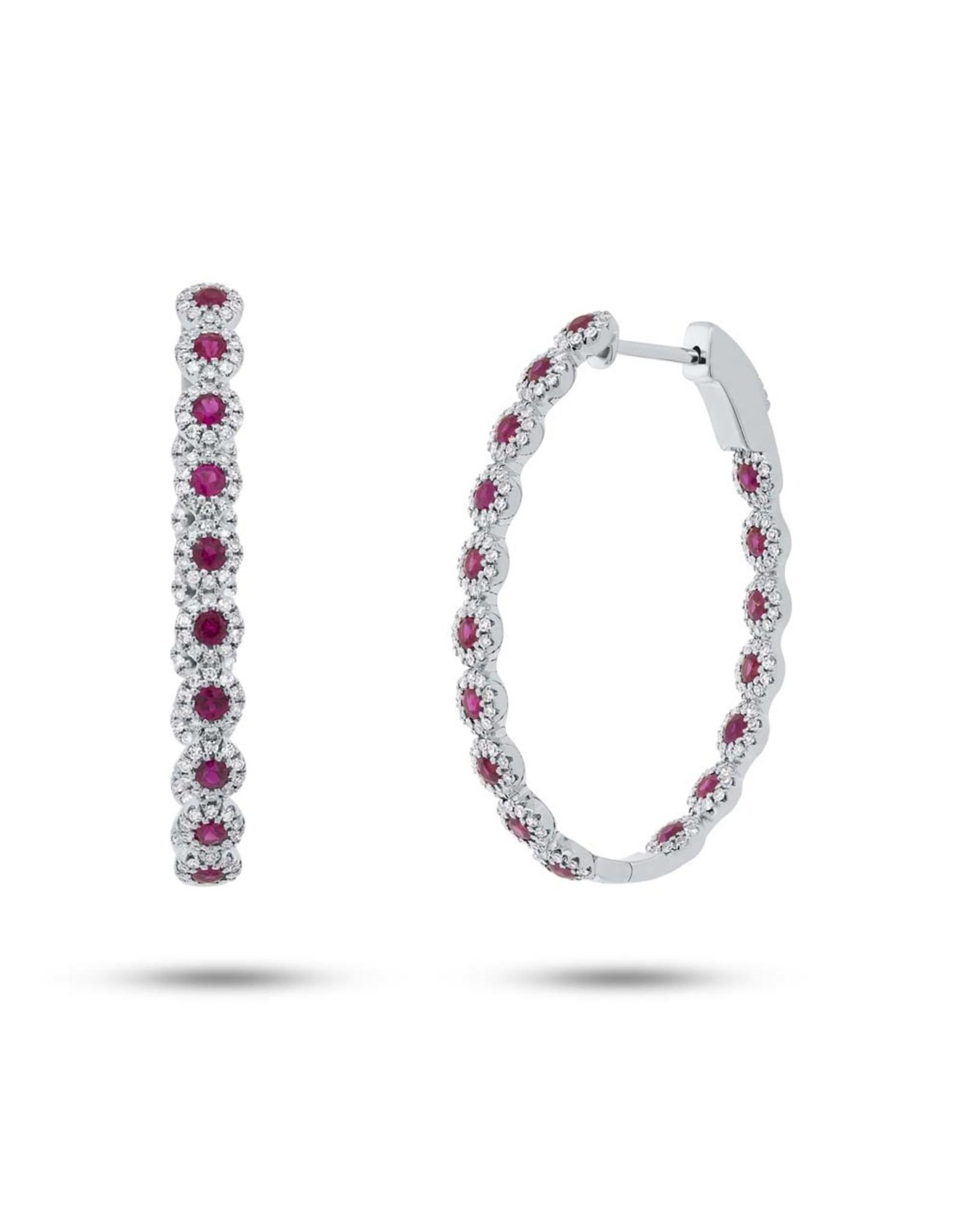 14K White Gold Ruby and Diamond Hoop Earrings, R: 1.54ct, D: 0.86ct