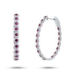 14K W/G Ruby & Diamond Hoop Earrings