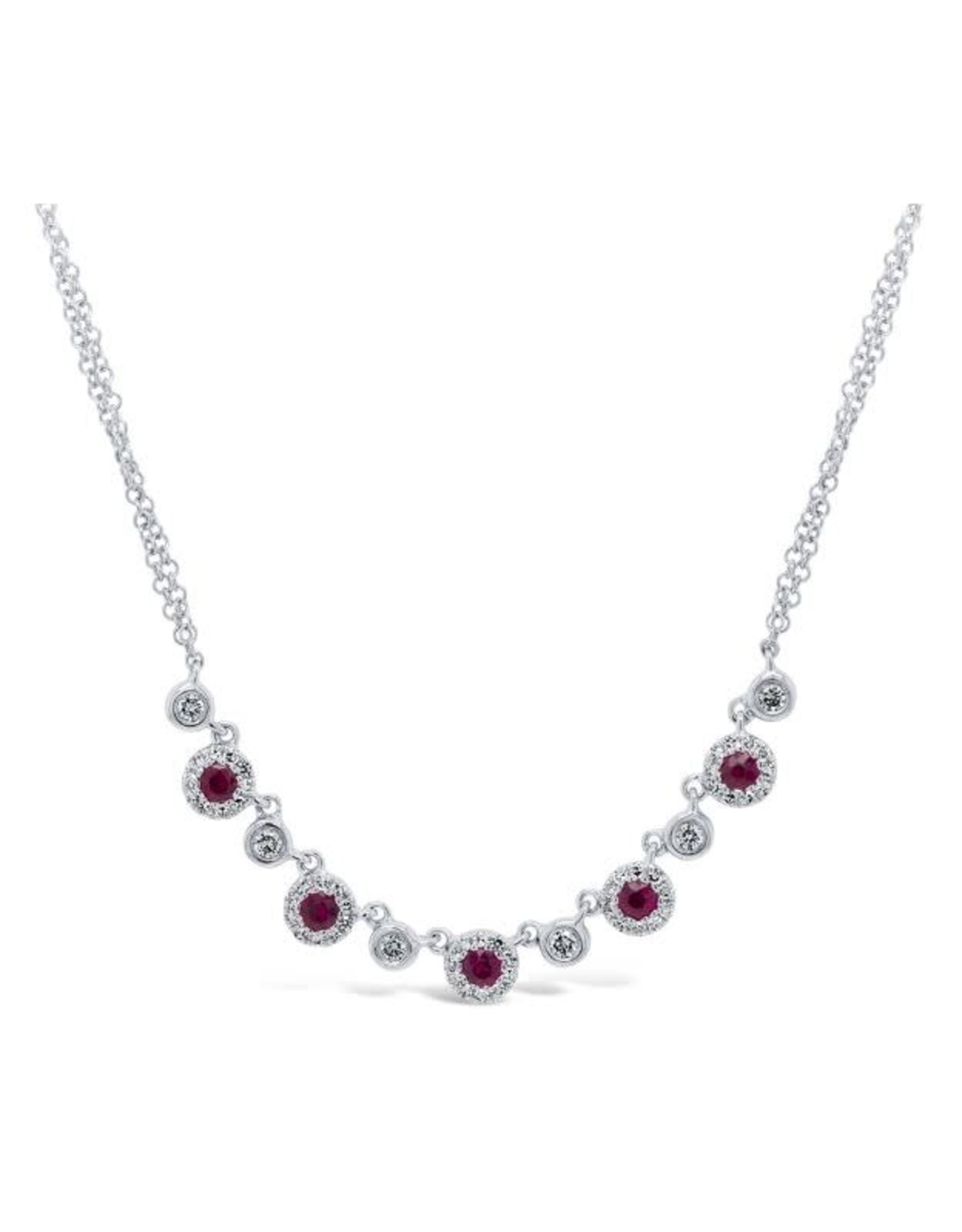 14K White Gold Ruby and Diamond Necklace, R: 0.36ct, D: 0.26ct