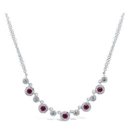 14K W/G Ruby and  Diamond Necklace