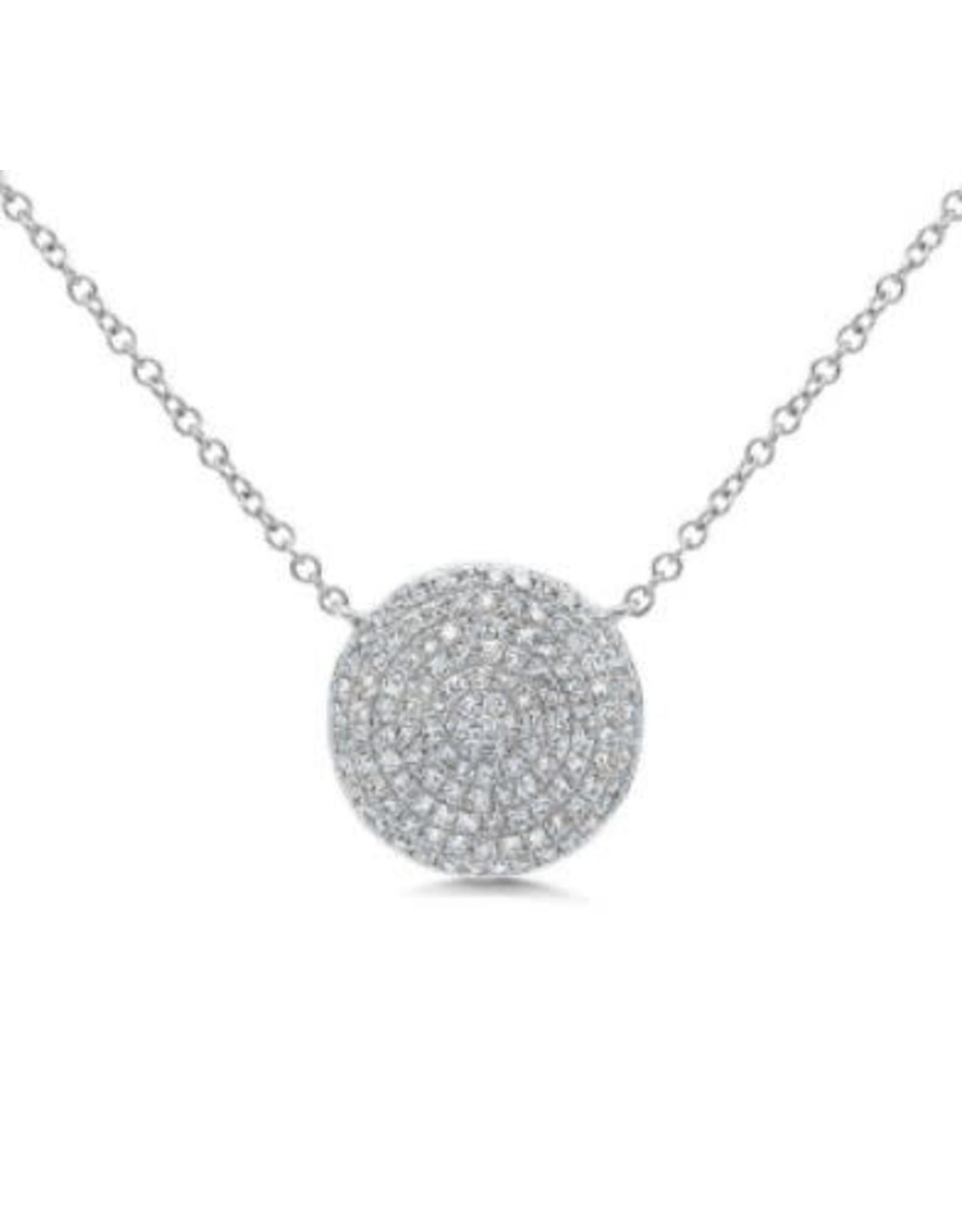 14K White Gold Pave Diamond Circle Necklace, D: 0.37ct