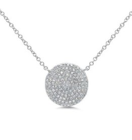 14K W/G Pave Diamond Circle Necklace