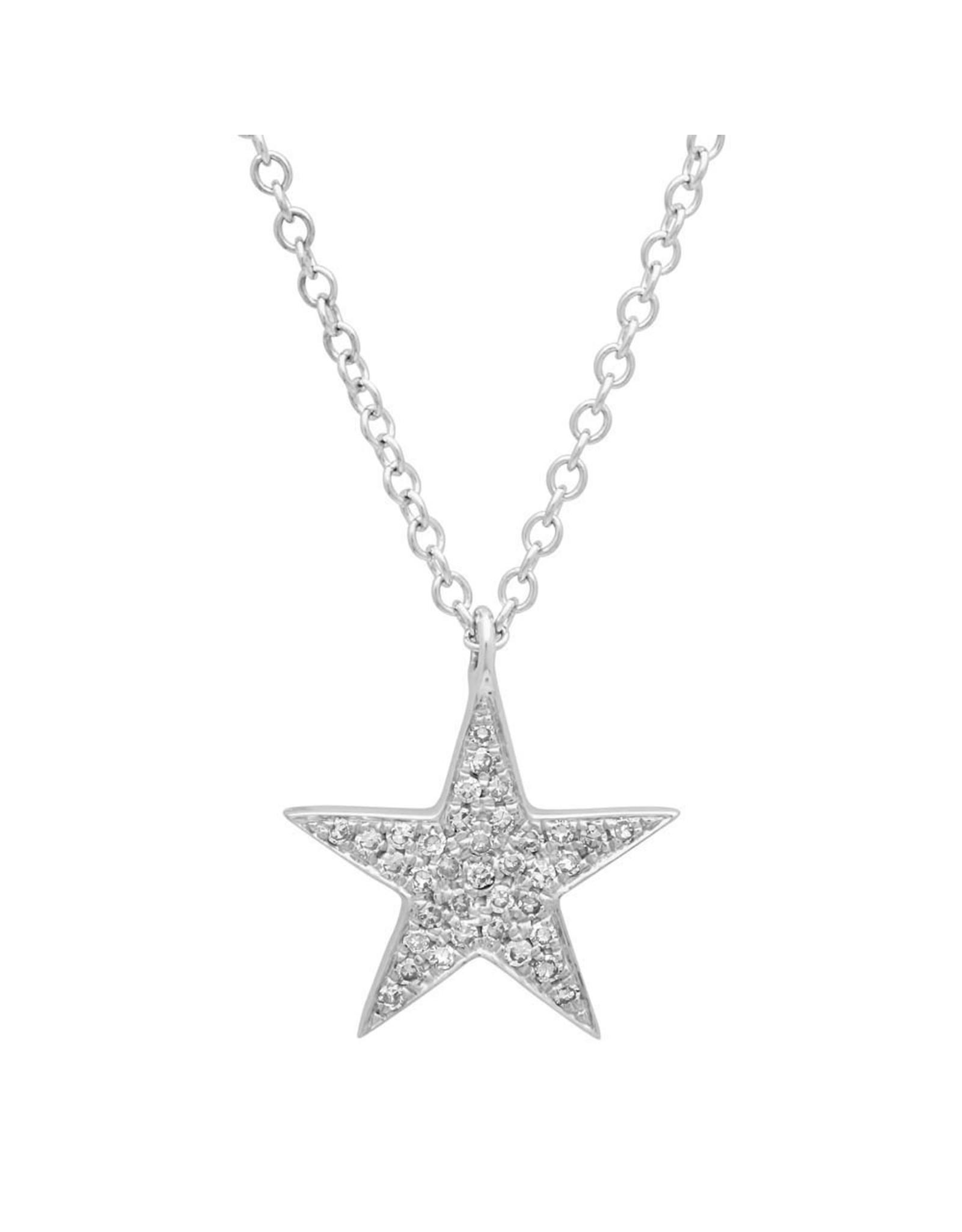 14K White Gold Pave Diamond Star Necklace, D: 0.09ct