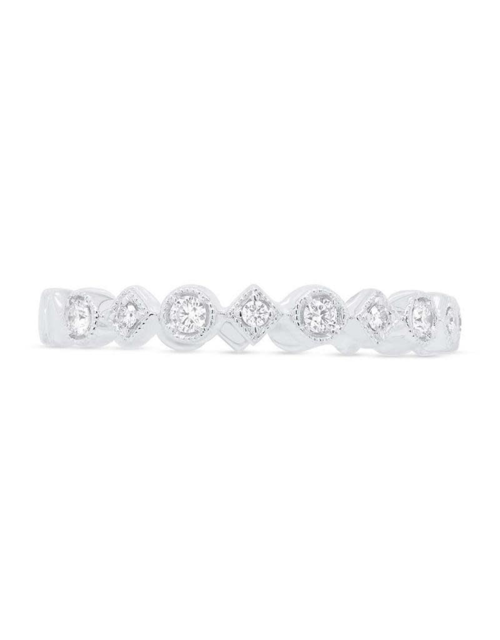 14K White Gold Circle-Square Diamond Stackable Ring, D: 0.14ct